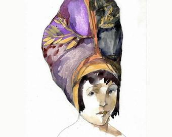 Girl Hat Turban portrait original painting illustration watercolor paper people figurative art