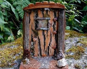 Large Wood Fairy door with Porch, Miniature Fairy Garden decor, Fairy House Door with Driftwood, All Natural materials