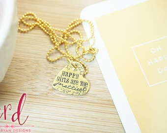 Happy Girls are the Prettiest Necklace | Gold Necklace | Audrey Hepburn | Hand Stamped