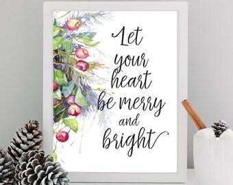 Merry And Bright, Christmas Printable Wall Art, Holiday Decor, Christmas Print