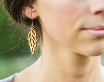 Leaf Earrings, Wood Earrings, Nature jewelry, Yoga Jewelry, wife earring gift, Wood jewelry, boho earrings, Yoga gift, girlfriend gift