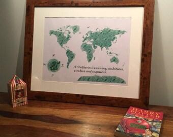 Harry Potter Slytherin Inspired Map, World Map, Harry Potter Slytherin Wall Art Decor, Harry Potter Slytherin A4 Print