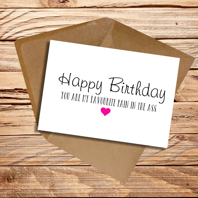 Funny Birthday card Husband Wife Girlfriend Boyfriend