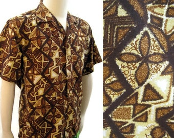 Vintage 60s Hawaiian Shirt Kamehameha Mens Cotton Tapas Print Loop Collar XL