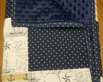Baby Explorer Quilt // Navy and White Maps and Anchors Patchwork Minky Quilt
