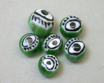 Vintage EYE Beads GREEN Venetian MILLEFIORI 7.5-9mm Pkg6 eye3