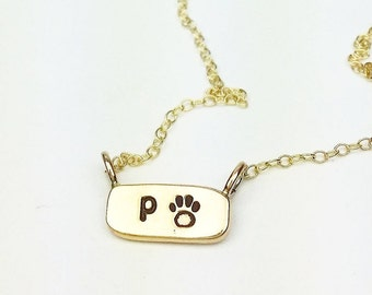 itty bitty bar custom dog cat paw initial monogram date necklace