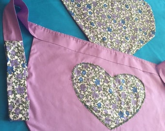 Lavender floral sweetheart apron