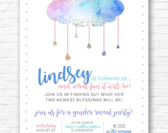 Watercolor Cloud Gender Reveal Invitation