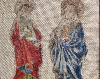 Circa 1600 French Embroidery Antique Silk Needlework Gold Metallic Threads