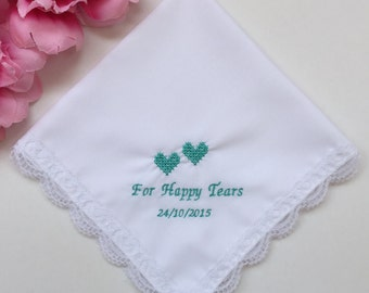 Embroidered Wedding Handkerchief For Bridesmaid/For Happy Tear Handkerchief With Gift Box Free/HY1009
