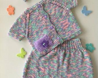 Baby girl dress set,sweater,gift,9 months,1 year,knit set,jacket,skirt,cardigan,handmade,handknit,photo prop birthday outfit, gift