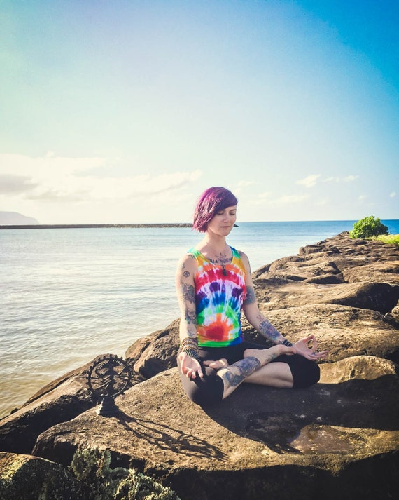 Tie Dye Yoga Tank Top/Adult Shirt/Rainbow Spiral/Eco-Friendly Dying