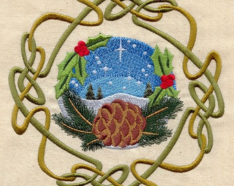 Wheel of the Year Yule - Made to Order Kitchen Towel