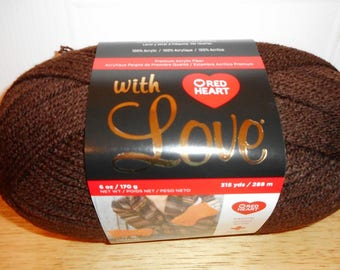 Red Heart, Yarn, With Love,Chocolate, Brown