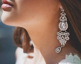 AMANDA Chandelier Vintage Crystal Bridal Earrings Long Victorian Style Earrings Wedding Jewelry drop wedding Earrings