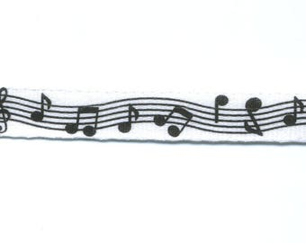 Fancy white notes Ribbon musical by the yard