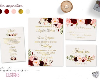 Marsala Wedding Invitation Suite Burgundy Pink Digital Gold Letters Bohemian Wedding Invite Set Floral Printable Wedding Invite - WS018