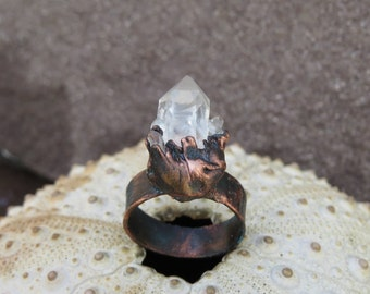 Clear quartz ring | Multipoint quartz electroformed ring | Quartz cluster copper ring
