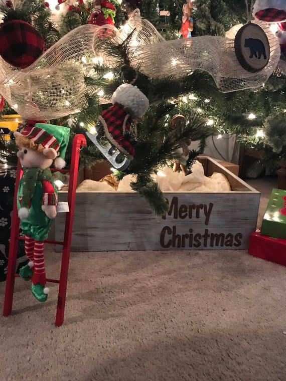 Christmas Tree Skirt, Personalized Tree Skirt, Farmhouse Christmas, Tree Skirt, Rustic Christmas, Christmas Gift, Wood Box, Christmas Decor