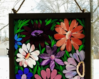 Stained Glass Mosaic - Garden of Pink & Purple Geode Flowers