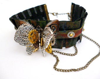 Steampunk 3D Butterfly Choker Necklace_STN208879/5614_Steampunk Accessories _Necklace_Gift Ideas