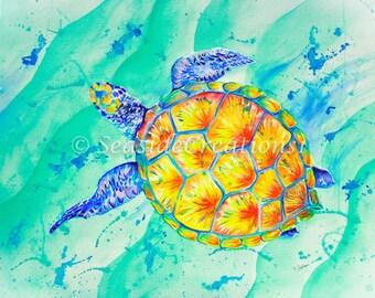 Sea Turtle Decor, Sea Turtle Wall Art, Seaturtle Art, Seaturtle Wall Art, Colorful Painting, Tropical Painting, Wall Art for Beach House,