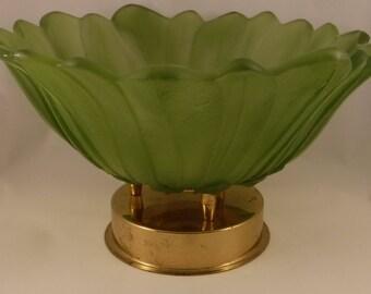 Vintage Frosted Glass Pedestal Bowl