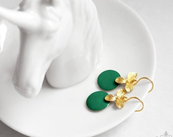 Ich bin Luxus - 'Emaille for YOU petit - jungle green' orchid earrings