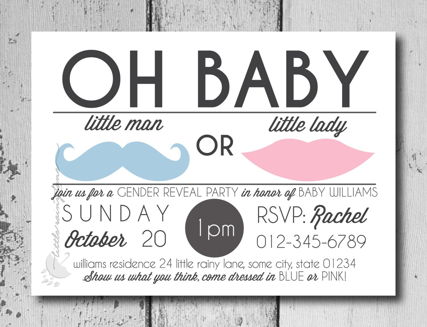 Gender Reveal Invitation Oh baby little man or little lady