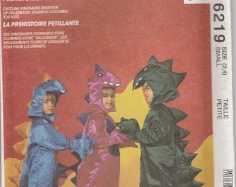 Dinosaur Costume Pattern Full Body Hands Feet Uncut Boy Girl Size 2 - 4 McCalls 6219