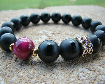 Gemstone Stretch Bracelet, Black, Agate Stone Bracelet, Beaded Bracelet, Beaded Stacking Bracelet, Bead Bracelet, Gold, Stretch, Elastic