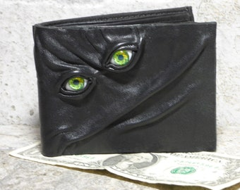 Leather Wallet Monster Face Fantasy Magic The Gathering Horror World Of Warcraft  Fathers Day Gift Black 552