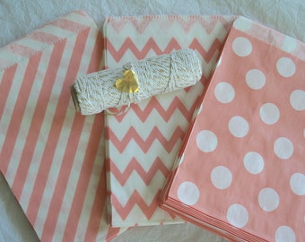 Light Coral Pink Paper Bags, Candy Buffet Bags, Treat Bags