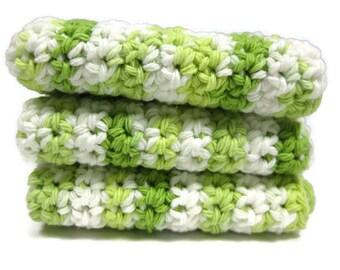 Limeade Crochet Cotton Dish Cloth Wash Cloth Set of Three
