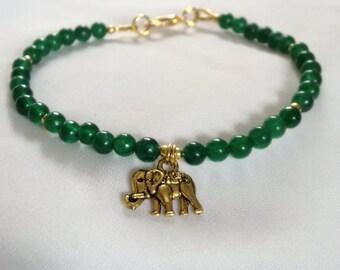 Bracelet - Elephant Bracelet - Green Jade Bracelet with Elephant Charm - Boho Bracelet - Green Bracelet -