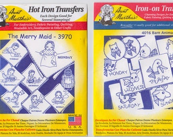 Aunt Martha's Iron-on and Hot Iron  Transfers Week Day Designs for Tea Towels, Quilting and More