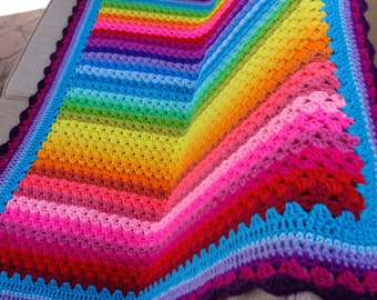 Rainbow crochet lap/baby blanket