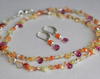 Beaded Sapphire, Tourmaline, Topaz, Carnelian, Chrysoberyl and Prehnite Necklace, Sterling Silver Beads, Beaded Necklace, Free Earrings