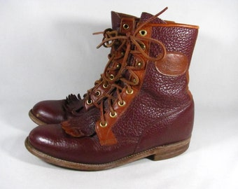 Vintage Justin Lacer Granny Steampunk Cowboy Boot Women size 7 Maroon