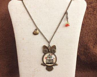 Bronze owl necklace, floral necklace, bird necklace, longline necklace