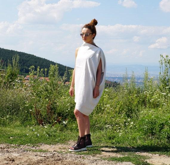 Linen Maxi Abaya Dress, Lightweight Short linen caftan, White Summer Dress Tunic, Loose Oversized Dress, Off Shoulder Dress