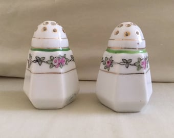 Vintage Pair Nippon Painted Porcelain Salt and Pepper Shakers