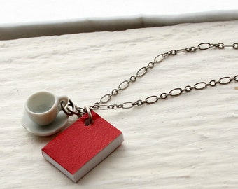 Book and Tea Cup Necklace, Red Book Necklace, Miniature Book Necklace, Teacup Necklace, Coffee Cup Necklace Book Necklace Book Jewelry