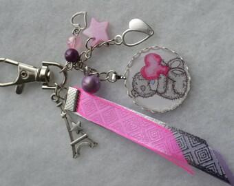"""Keyring or bag charm """"me to you"""" pink"""