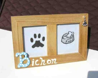 Final Markdown Sale...BICHON Dog Breed Wood Desktop Double Photo Frame w/Pawprint Charm CHOOSE Red or Blue Letter
