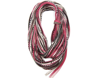 Statement Necklace, Infinity Scarf, carf Women, Scarves for Women, Fabric Jewelry, Travel Gift, Brown Scarf, Statement Jewelry, Womens