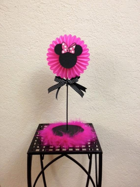 Minnie mouse birthday centerpiece pink boa baby shower
