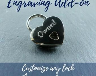 Lock Engraving Add On, BDSM Collar Engraving, Custom Jewelry Engraving