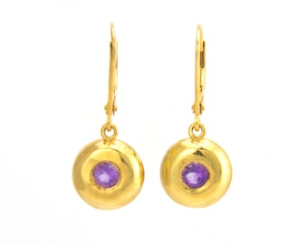 18k Gold Amethyst Earrings - Amethyst Drop Earrings - Amethyst gold earrings - Amethyst dangle earrings - amethyst jewelry